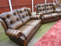 CHESTERFIELD SOFAS, 1x 3 seater + a 2 seater , brown leather lovely sofas, bargain £575 can deliver