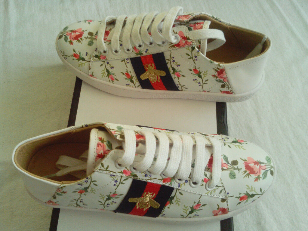 MEGA RARE Limited Edition Gucci New Ace Floral And Bee Leather Womens  Trainers 929eb15749