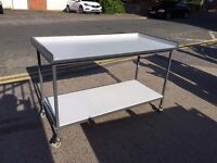 Steel Frame Workbench Tall Table With White Top And Shelf -Lab Art Packing Table - 2 Available