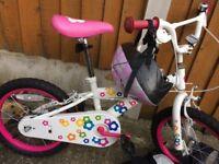 Girls flower bike with helmet