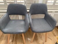 2 Grey Fabric Dining Chairs - as good as new