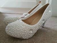 Ivory Wedding Prom Shoes Size 7.5