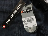 Airwalk Belted Cargo Jeans Straight Fit Belt Denim Mens Gents