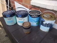 Household paint - selection of blues and one gold - FREE