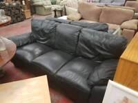 Black leather 3+2 seater sofa