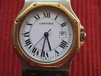 Cartier Santos Octagon Mens Midsize Watch, Automatic - Stainless Steel & 18K Gold.