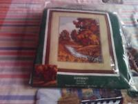 New tapestry kit by the craft collection called Autumn.Picture shows a wood in autumn colours.