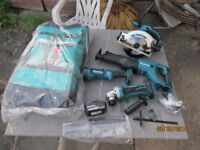 makita 18v 4pc,skillsaw,grinder,reciprocating saw,torch,1x5ah battery,bag for 6pc