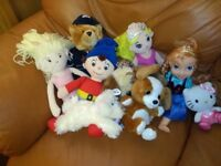 9 x Teddies & Dolls - Anna Frozen ~ Noddy ~ Mermaid ~ Hello Kitty ~ Policeman + more Free