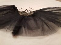 Black swan fancy dress costume tutu ballet tiara