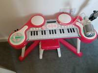 Children's keyboard with microphone and drums