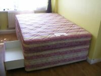 CAN DELIVER - DOUBLE DIVAN BED WITH 4 DRAWERS AND MATTRESS