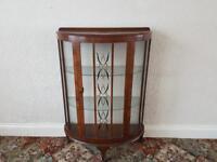 Retro vintage walnut glass display cabinet
