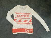 Superdry oversized wool jumper size S cream and orange ladies/girls