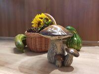 Beautiful x large brown ceramic triple mushroom for Autumn decoration or harvest decor