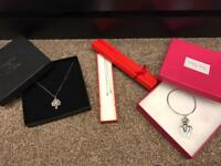 Christmas gifts: diamond necklace£30, tree of life necklace £10, heart bangle £10