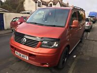 VW T5 CAMPERVAN, RECENTLY CONVERTED, 137K, ONE OFF COLOUR, ROCK/ROLL BED, DVD MONITOR, DOUBLE DIN