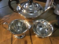 Round shape silver plate tea set