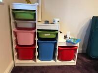 Children storage unit with storage boxes