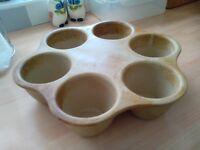 Pampered Chef stoneware muffin pan