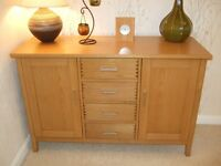 Solid Oak sideboard, television table , nest of 3 tables.