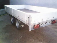 AS NEW 2600kg Twin Axle 10x5 Trailer brakes, alloy dropsides ideal tree surgeon landscaper etc