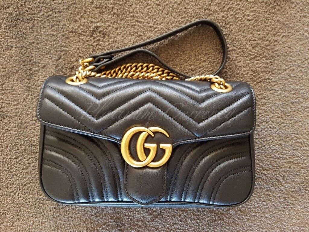 3db40da1c AUTHENTIC GUCCI GG MARMONT BLACK SMALL MATELASSE CHAIN SHOULDER BAG