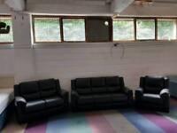 Black leather 3 + 2 + 1 seater sofa