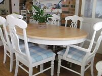 SOLID PINE DINING TABLE & 6 CHAIRS - DELIVERY AVAILABLE