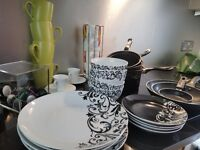 Entire Kitchen Set incl Nespresso machine w milk frother, matching dinnerware, cooking ware, & more