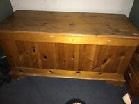 Solid pine blanket or toy box chest trunk