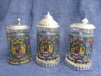 Set of 3 Decorated Glass Beer Tankards