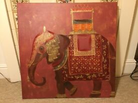 Large oil on canvas Indian elephant