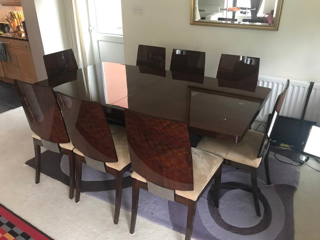 Furniture Village Rossini Italian Walnut Dining Table And 8 Chairs
