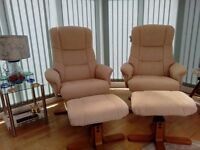 Two matching, Swivel Reclining chairs and footstools. As new, less than 3 years old. See pics.