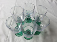 6 Strahl Acrylic Large 10oz Da Vinci Wine Goblets Clear/Emerald Green Unbreakable Picnic BBQ Camping