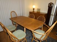 1960's Ercol Table and 6 chairs (2 blue label)