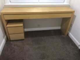 Ikea malm dressing table and bedside table
