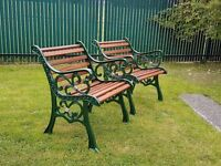 Cast iron and hardwood garden chairs