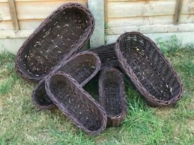6 x garden pots, brown, wicker/ rattan pots