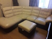 Can deliver Harvey's cream and brown corner sofa with footstool good condition