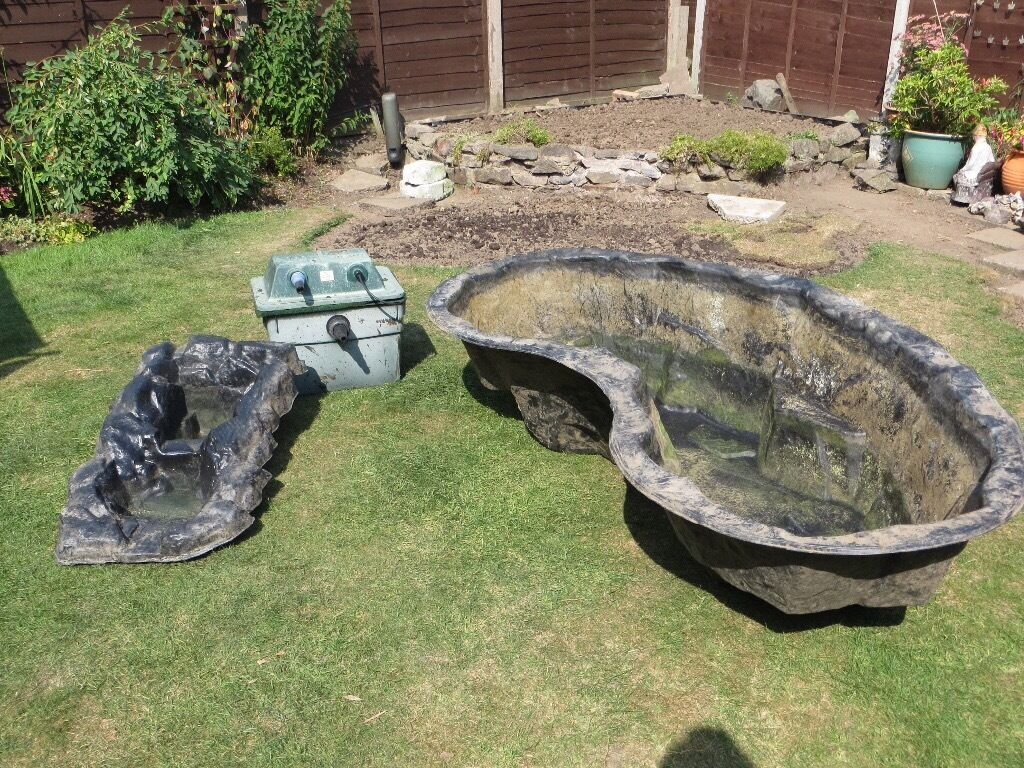 Lotus carp preformed pond with water cascade and filter for Preformed pond