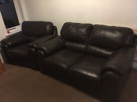 BROWN LEATHER TWO SEATER & CHAIR