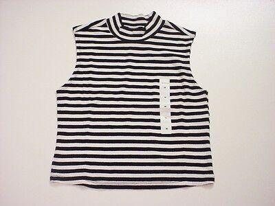Joe Boxer Junior Girls White/Black Striped High Neck Tank Top Size