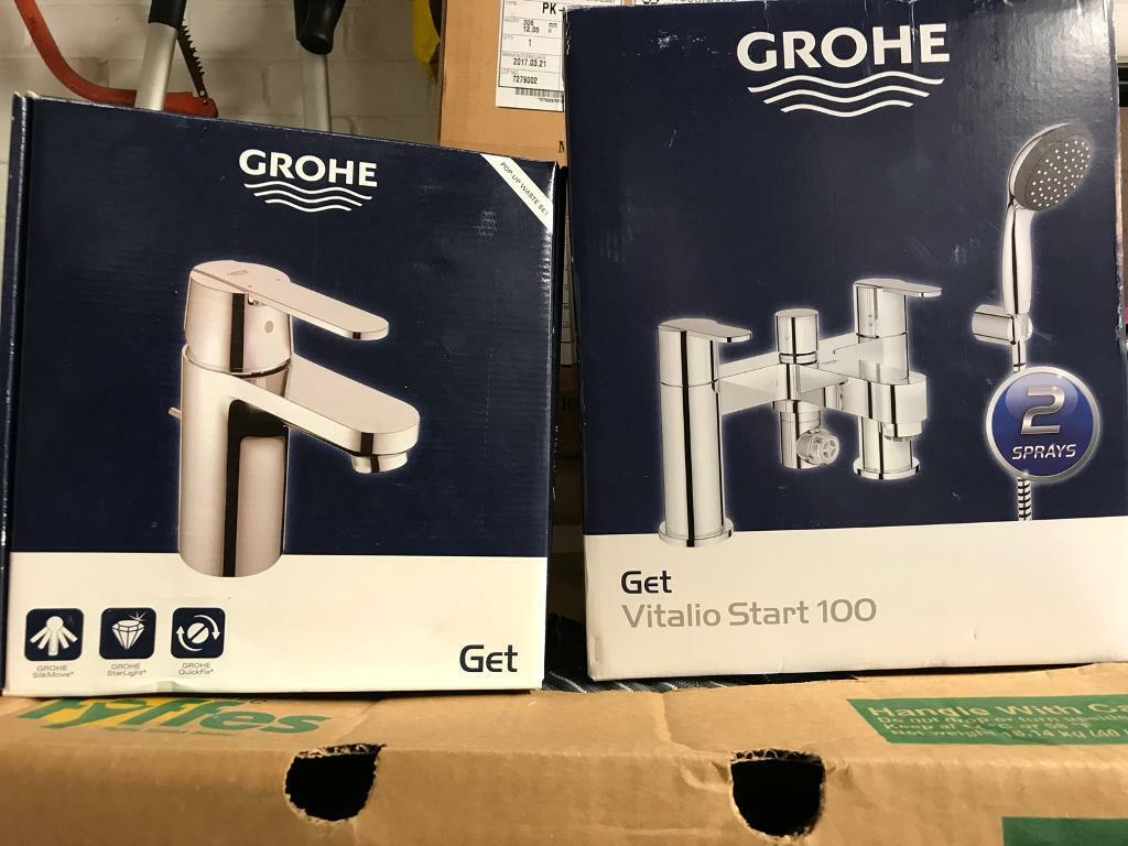 Brand New Grohe Bath & Shower Mixer Tap with Matching Mono Basin Tap