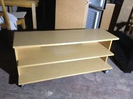 Wooden Tv stand with wheels