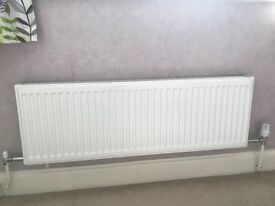 10 Convector White Double Panel Radiators with TRVs, excellent Conditon just 1 Yr Old