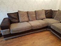 Beige, brown suede corner sofa