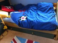 Boys wooden single bed and trundle bed with matching furniture (sold together or separatel)