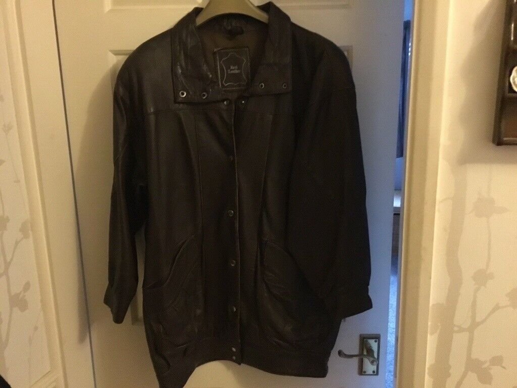 Longer length real leather coat size 18   in Leicester